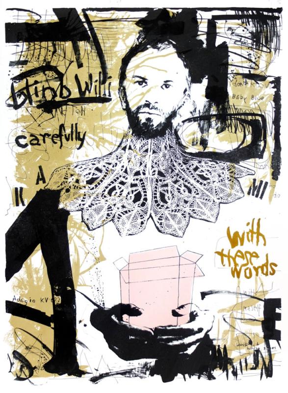 Uważaj na słowa, litografia 100x70 cm, 2015 r.