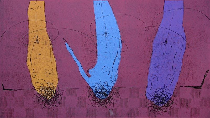 Trzy Gracje; linoryt, 47x85 cm, 2004 r. Trzy Gracje; linoryt, 47x85 cm, 2004 r.