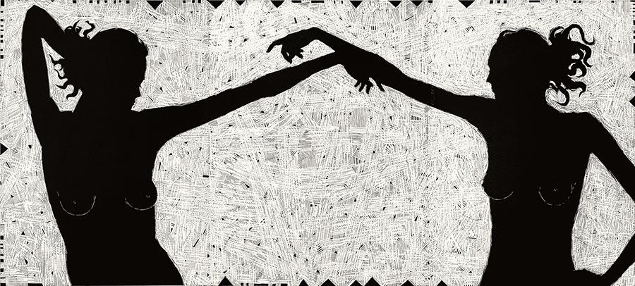 Menuet proszę pana; linoryt, 90x200 cm, 2007 r.