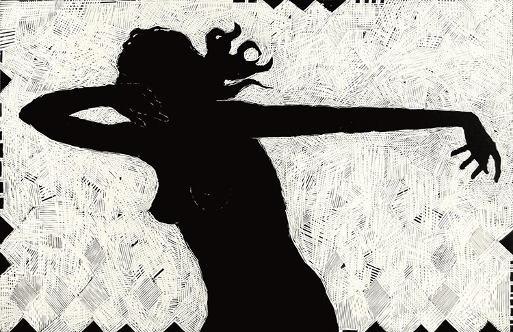 Dance; linoryt, 65x95 cm, 2006 r.
