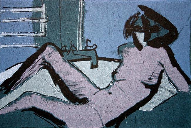 Bath Erotina I; linoryt, 9,5x14 cm, 2005 r.