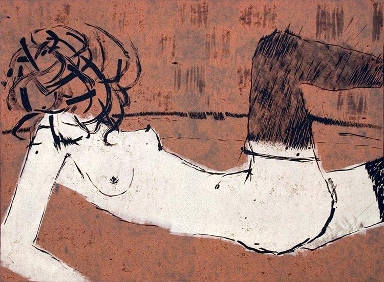 Erotina 12; linoryt, 47x65 cm, 2003 r.