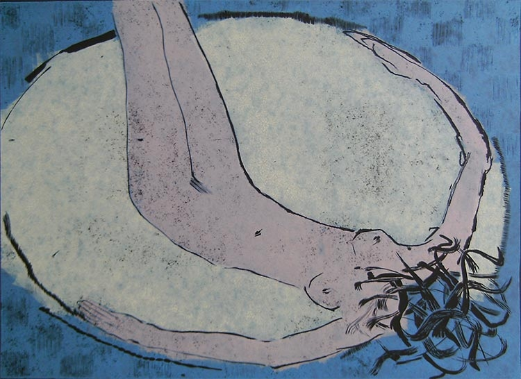 Erotina 13; linoryt, 47x65 cm, 2003 r.