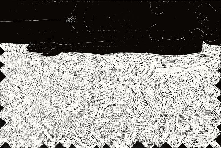 Erotina - Plaża; drzeworyt, 65x95 cm, 2006 r.