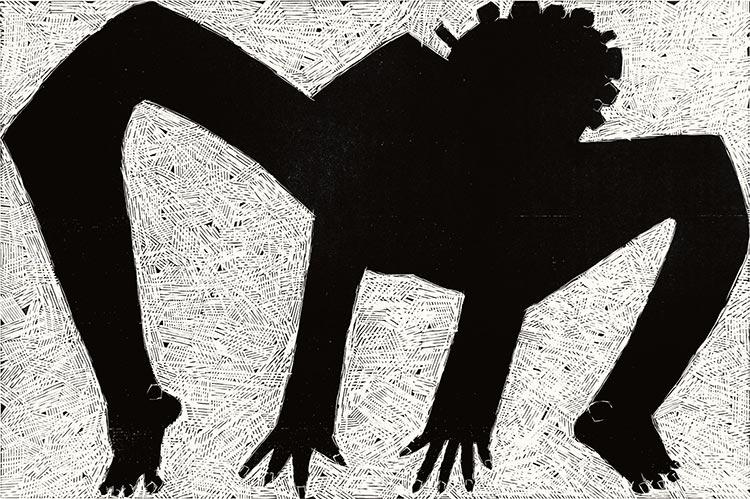 Gimnastyka / Czysta podłoga; drzeworyt, 65x95 cm, 2008 r.
