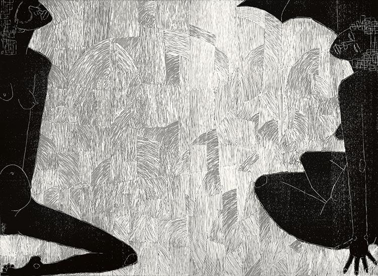 Naprawdę gorące lato; drzeworyt, 95x130 cm, 2008 r.