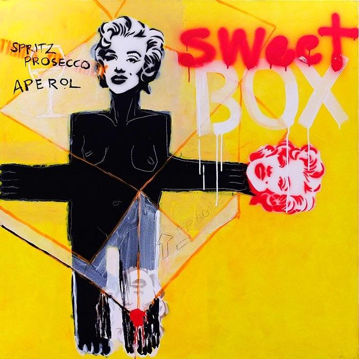 Sweet Box, akryl/płótno, 100x100 cm, 2012 r.