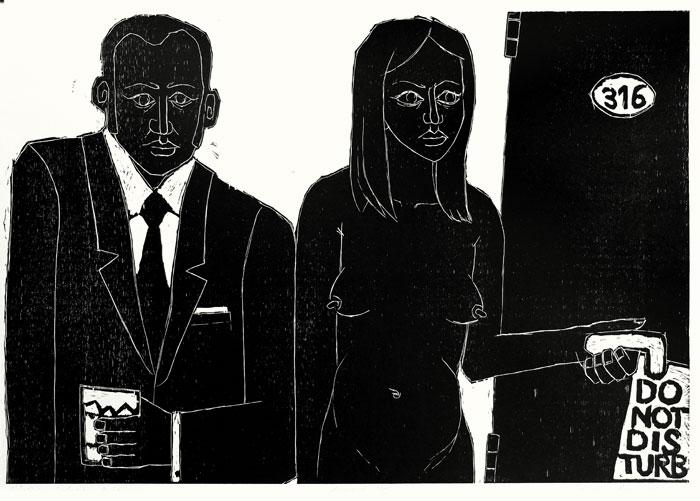 Miłośnicy spokojnego życia; drzeworyt, 64x96 cm, 2010 r.