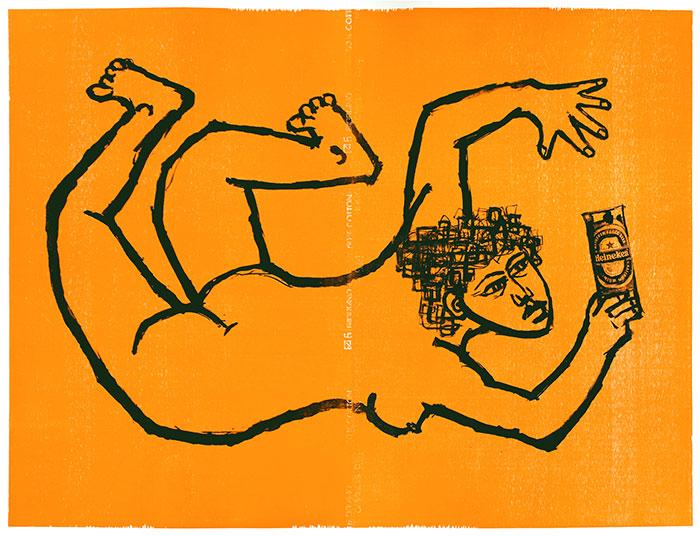 Radość życia; litografia/drzeworyt, 95x130 cm, 2009 r.