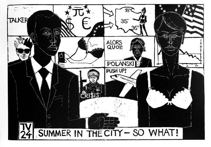 Summer in the city; drzeworyt, 64x96 cm, 2011 r.
