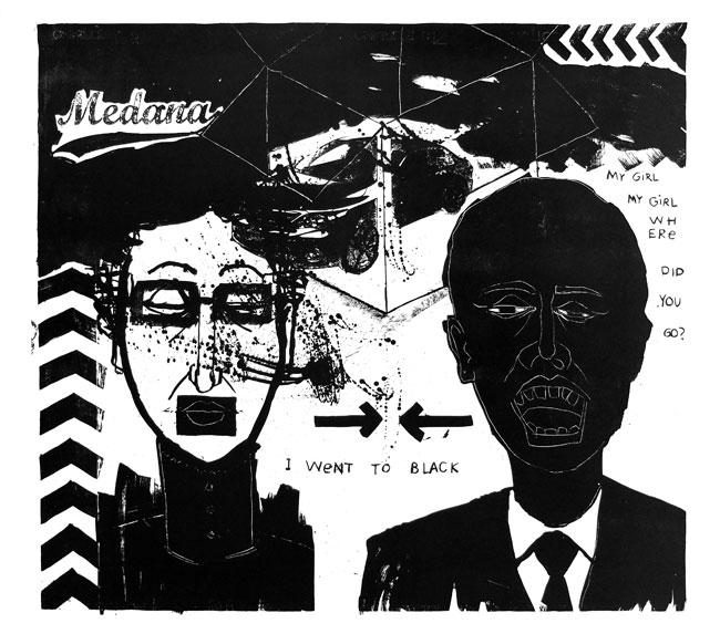 Went to black; litografia, 68x75, 2012 r.