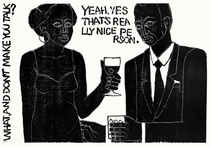 Wszyscy piją Colę drzeworyt, 64x96 cm, 2010 r.