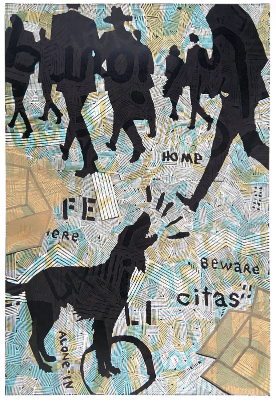 linocut/woodcut/collage
