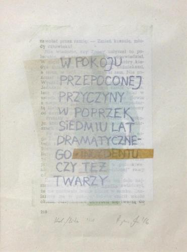 Poem - W pokoju, litografia,-collage