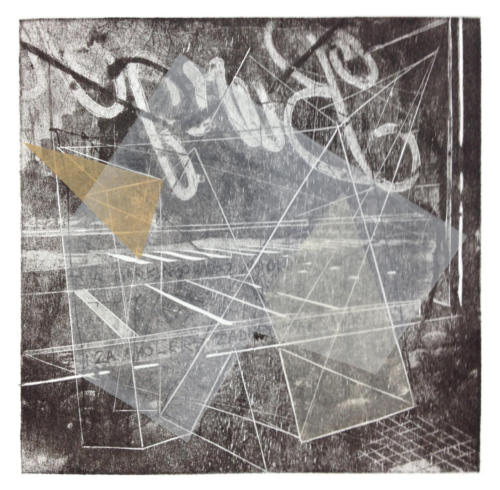 Praga 1, mokulito/collage, 2016 r.