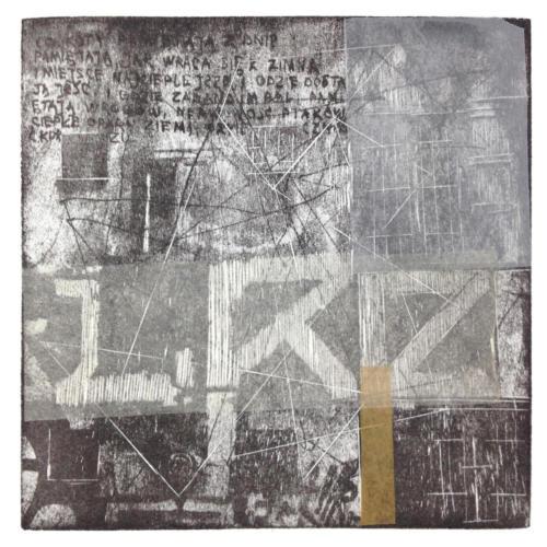 Praga 2,mokulito/collage, 2016 r.